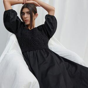 Reserved - Bavlněné mini šaty - Černý