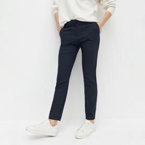Reserved - Elegantní kalhoty selastickou pasovkou - Tmavomodrá