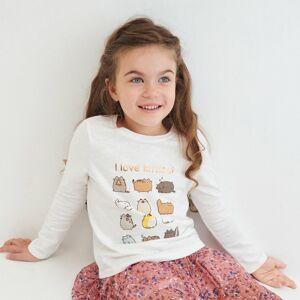 Reserved - Bavlněné tričko sdlouhými rukávy Pusheen - Krémová
