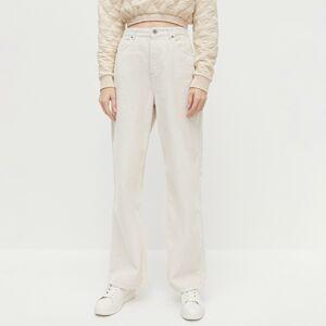 Reserved - Manšestrové kalhoty sširokými nohavicemi - Krémová