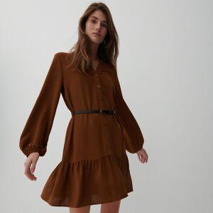 Reserved - Dámské šaty spáskem - Hnědá