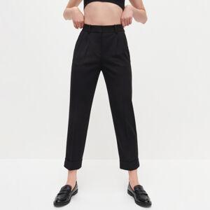 Reserved - Elegantní kalhoty svysokým pasem - Černý