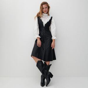 Reserved - Koženkové šaty - Černý