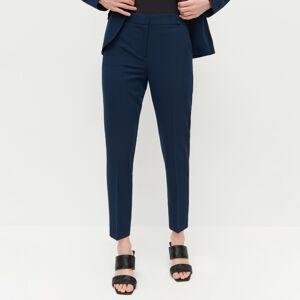 Reserved - Elegantní kalhoty snažehlenými puky - Tmavomodrá