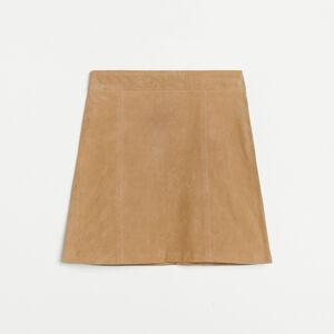Reserved - Kožená sukně - Béžová