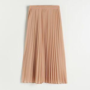 Reserved - Skládaná sukně midi - Béžová
