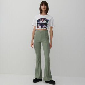 Reserved - Kalhoty zžebrovaného úpletu - Zelená