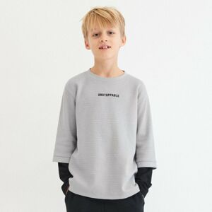 Reserved - Tričko s dvojitými rukávy - Světle šedá