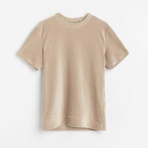 Reserved - Hladké tričko sžebrovanými lemy - Béžová