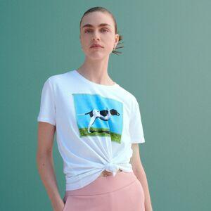 Reserved - Tričko svysokým podílem bavlny apotiskem - Bílá