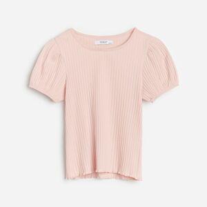 Reserved - Tričko sdlouhými rukávy, zžebrovaného úpletu svysokým podílem bavlny - Růžová