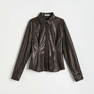 Reserved - Košile z imitace kůže - Hnědá