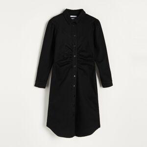 Reserved - Košilové šaty sbalonovými rukávy - Černý