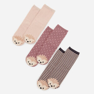 Reserved - Sada 3párů ponožek shebkou aplikací - Krémová