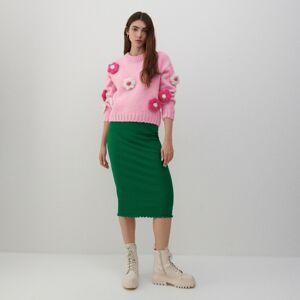 Reserved - Sukně s proužkované pleteniny - Zelená