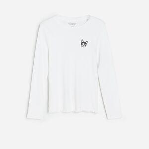 Reserved - Bavlněné tričko s výšivkou - Krémová