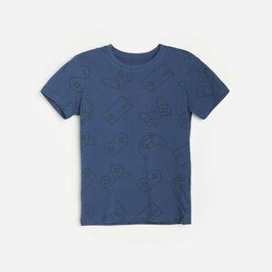 Reserved - Vzorované bavlněné tričko - Tmavomodrá