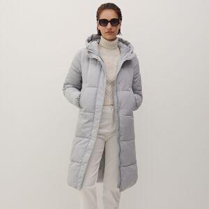 Reserved - Prošívaný kabát s kapucí - Světle šedá