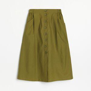 Reserved - Midi sukně spřední částí na knoflíky - Zelená
