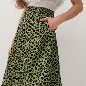Reserved - Vzorovaná sukně - Zelená