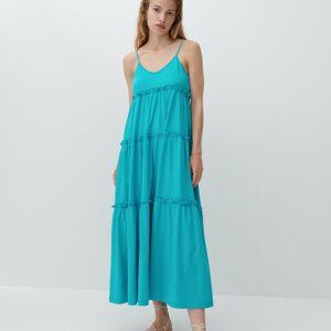 Reserved - Bavlněné maxi šaty - Modrá