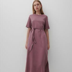 Reserved - Šaty vtričkovém stylu spáskem - Růžová