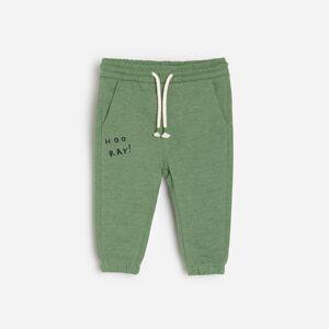Reserved - Bavlněné teplákové kalhoty - Zelená