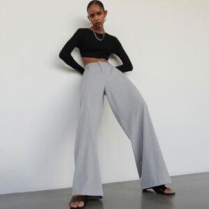 Reserved - Elegantní kalhoty - Světle šedá