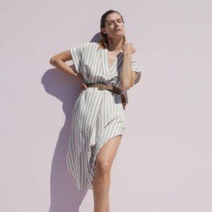 Reserved - Viskózové šaty spáskem - Béžová