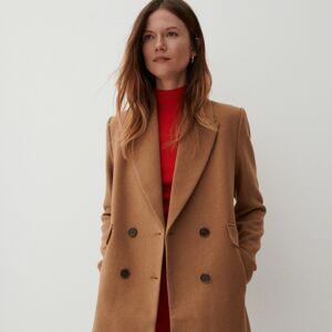 Reserved - Dvouřadý kabát s vlnou - Hnědá