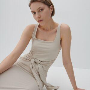 Reserved - Žebrované šaty zžerzejového úpletu - Krémová