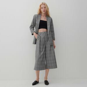 Reserved - Kostkované kalhoty culottes - Šedá