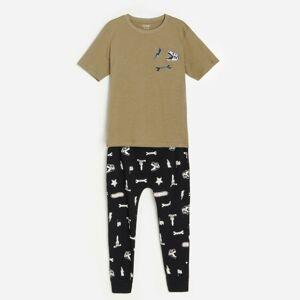 Reserved - Bavlněná pyžamová souprava skalhotami - Khaki