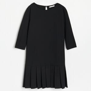 Reserved - Šaty sdekorativními sklady na lemu - Černý