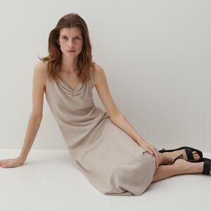 Reserved - Žebrované šaty zžerzejového úpletu - Béžová