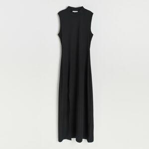 Reserved - Žebrované šaty zžerzejového úpletu - Černý