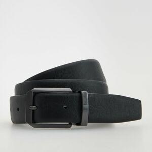 Reserved - Kožený pásek skovovou sponou - Černý