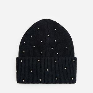 Reserved - Černá čepice sperlami ve stříbrné barvě - Černý