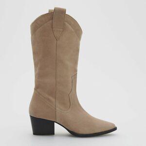 Reserved - Kožené boty vkovbojském stylu - Béžová