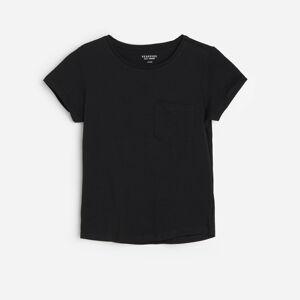 Reserved - Bavlněné tričko s kapsičkou - Černý