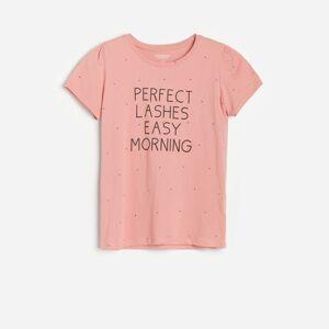 Reserved - Bavlněné tričko s popisem - Růžová