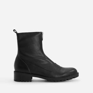 Reserved - Kožené kotníkové boty se zapínáním na zip vpředu - Černý