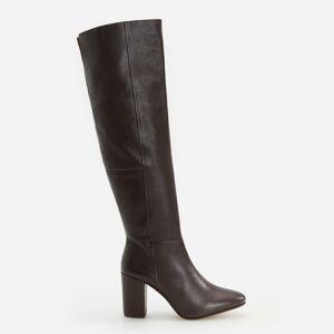 Reserved - Kožené boty na podpatku - Hnědá