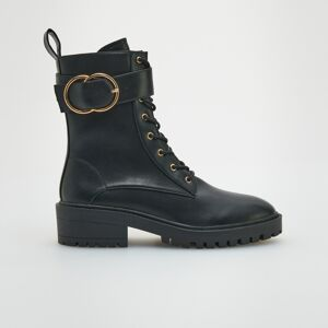 Reserved - Kotníkové boty s ozdobnou přezkou - Černý