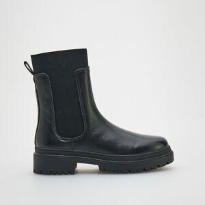 Reserved - Kožené kotníčkové boty - Černý