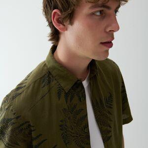 Reserved - Bavlněná košile srostlinným potiskem - Khaki
