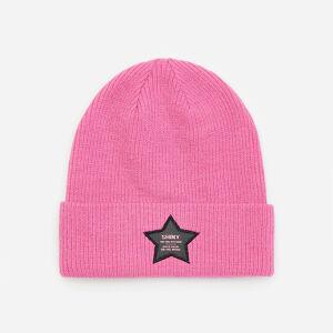 Reserved - Úpletová čepice s nášivkou - Růžová