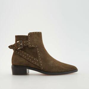 Reserved - Kožené kotníčkové boty - Béžová