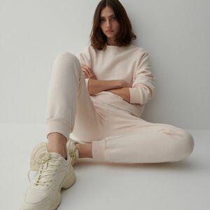 Reserved - Kalhoty svysokým podílem organické bavlny - Krémová
