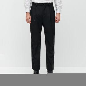 Reserved - REDESIGN Elegantní plisované kalhoty - Černý